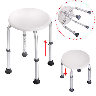 Round 7 Height Adjustable Medical Shower Stool Chair Bath Tub Seat  White (Adjustable Bath Chair)
