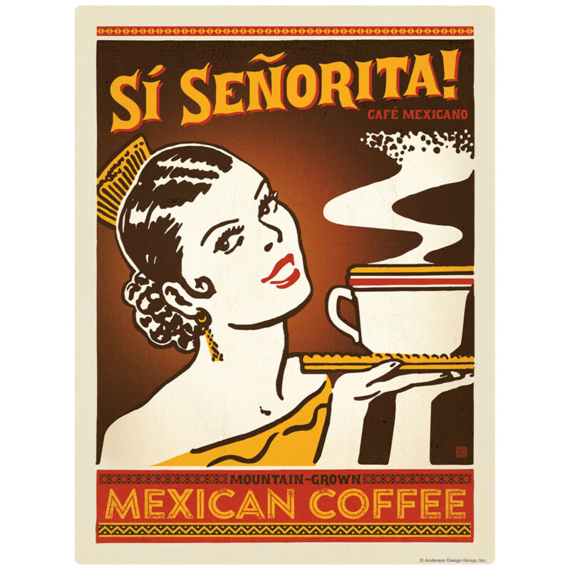 Mexican Coffee Si Senorita Decal 26 x 34 Peel and Stick Kitchen Decor