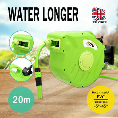 UK 20M arden Water Hose Reel Retractable Wall Mounted Watering Pipe Spray Tool