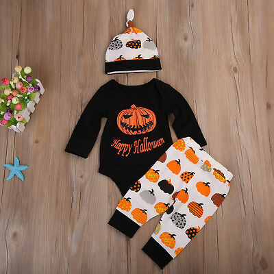 Halloween Newborn Baby Boy Girl Romper Bodysuit Pants Legging Outfit Clothes USA - Halloween Outfit