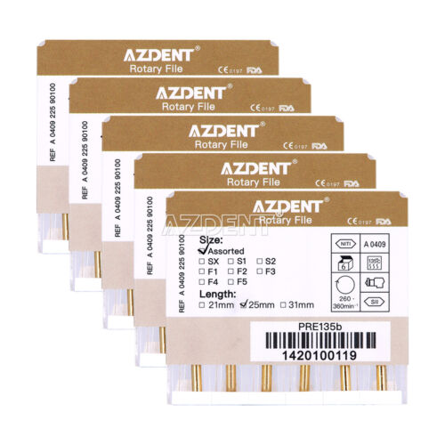 5 Kits Dental Endodontic 25mm Gold Taper NITI Endo Rotary Files Engine Use