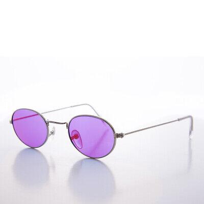 Lila Farbe Getönt Ovale Gläser 90s Vintage Sonnenbrille Silberrahmen - Sherbert