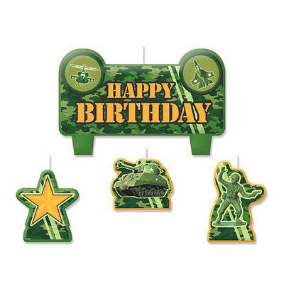Camouflage Happy Birthday Candle Set~ Birthday Party Decorations Cake Toppers - Camouflage Birthday Cake