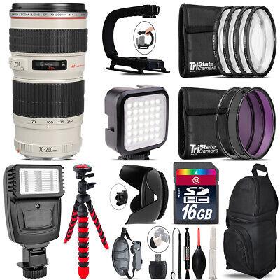Canon EF 70-200mm f/4L USM Lens - Video Kit +  Flash - 16GB Accessory Bundle