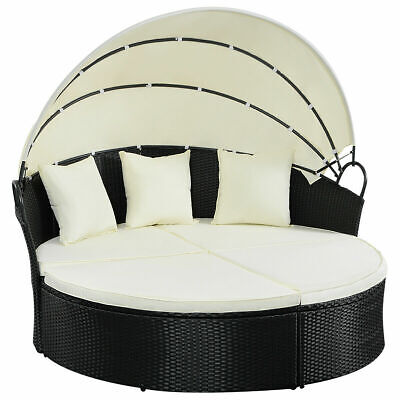 Outdoor Patio Sofa Furniture Round Retractable Canopy Daybed Black Wicker Rattan ()