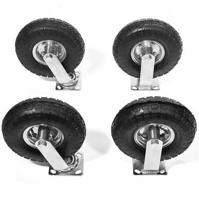4pcs 10 Pneumatic Air Tire Wheel 2 Rigid 2 Swivel Farm Cart Hand Truck Large