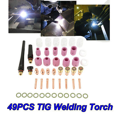 49pc Tig Welding Torch Gas Lens Collet Body Consumables Kit Fits Wp 17 18 26