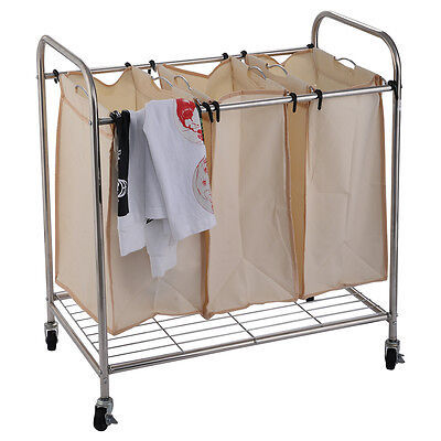 Heavy-Duty 3-Bag Laundry Sorter Rolling Cart Hamper Organizer Beige 4 Wheels