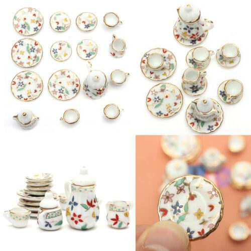 15Pcs Dollhouse Miniature Tableware Porcelain Ceramic Coffee Tea Set Floral