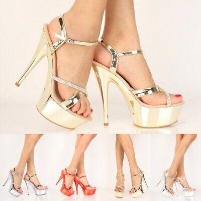 Stripper Exotic Dancer Mirror Metallic Rhinestones Platform High Stilettos Heels (Rhinestone Stripper Heels)