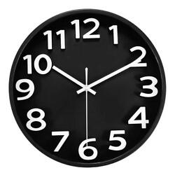 Black Large 3D Number Wall Clock Silent Non-ticking Battery Operated Easy Read