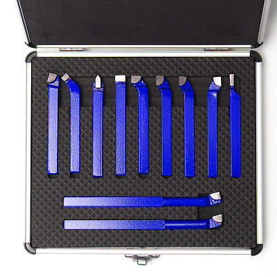 11 PCS CARBIDE TIP TIPPED CUTTER TOOL BIT CUTTING SET FOR METAL LATHE TOOLING