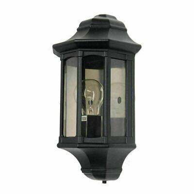 Garden Zone Newbury Exterior Black Half Lantern Wall Light IP44