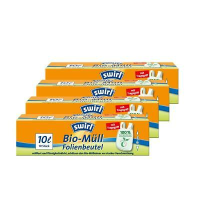 Swirl Bio-Müll Folien-Beutel 10l mit Tragegriff 10 stk./Rolle (4er Pack)