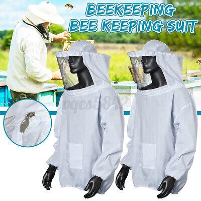 2x Beekeeping Jacket Bee Keeping Suit Pull Over Hat Sleeve Veil Smock White Us