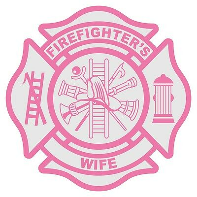 "Firefighter's Wife Reflective 3"" Pink Maltese Cross Firefighter Decal Sticker"