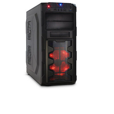 GM-X02 Gaming ATX Midi-Tower USB 3.0 ohne Netzteil Miditower 120 mm red rot LED