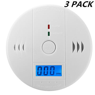 3 PACK LCD CO Carbon Monoxide Poisoning Sensor Alarm Warning Detector Tester