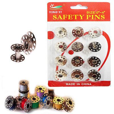 12 x Sewing Machine Bobbins Industrial Tailor Spools Fit Brother Janome Metal PK