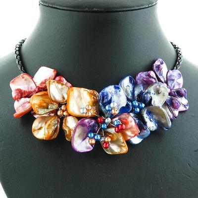 RED BLUE ORANGE PURPLE FLOWER MOTHER OF PEARL SHELL necklace