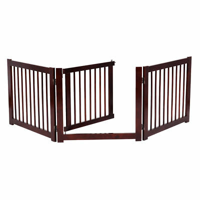 Rich Cherry Finish Wood Freestanding Pet Gate Dog Safety Fence Wooden W/Door