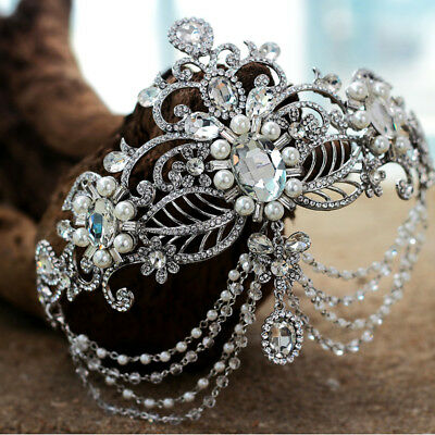 Vintage Wedding Bridal Crystal Pearl Headband Queen Crown Tiara Hair Accessories (Pearl Tiara)