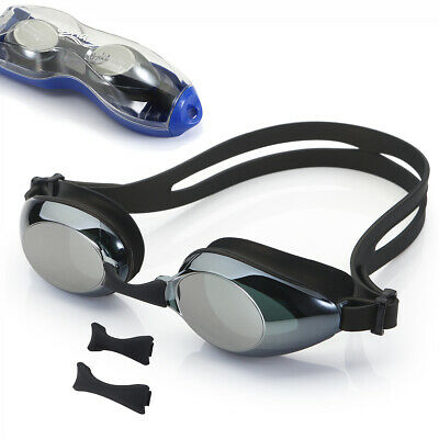 UShake Mirrored Anti-Fog Black Swim Goggles with 3 Nose Piece Sizes Adult (Goggles With Nose Piece)