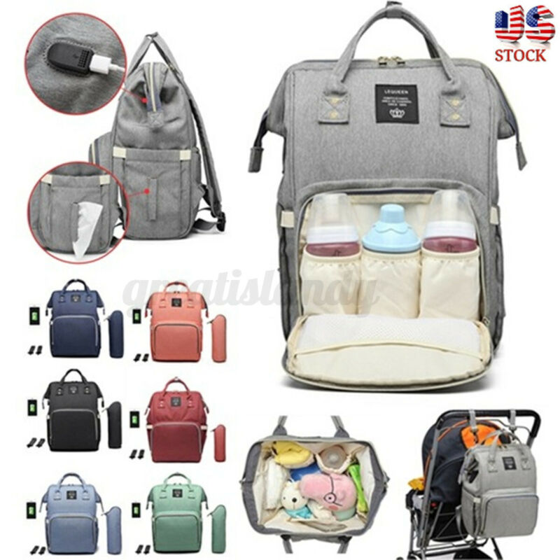 LEQUEEN USB Mummy Backpack Waterproof Baby Nappy Diaper Bag Maternity Travel