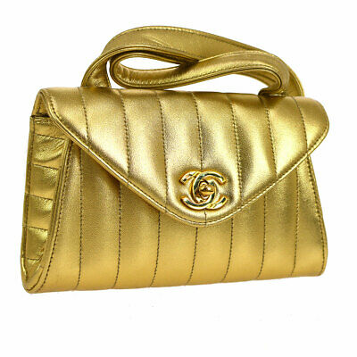 CHANEL Mademoiselle CC Cross Body Shoulder Bag Gold Leather Vintage WA00398b
