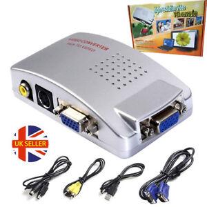 PC/Laptop/CCTV VGA to TV AV RCA S-Video Converter Adapter Box Composite HDTV UK