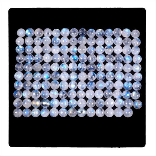 139 Pcs Natural Moonstone Blue Shines 7mm Round Cabochon Loose Gemstones Lot