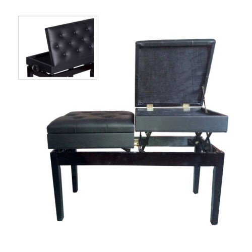 Separate Adjustable Wood Leather Storage Piano Bench Double Duet Keyboard Seat