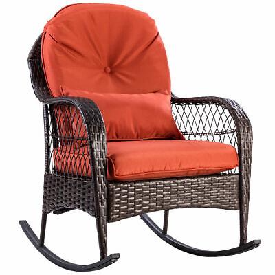 Patio Rattan Wicker Rocking Chair Porch Deck Rocker Outdoor Furniture W/ Cushion ()