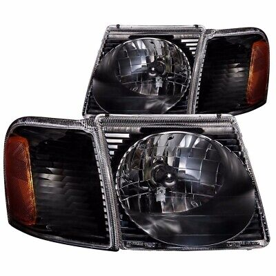 01-05 FORD EXPLORER SPORT TRAC CRYSTAL HEADLIGHTS WITH SIGNAL LAMPS BLACK PAIR 01 Ford Explorer Crystal