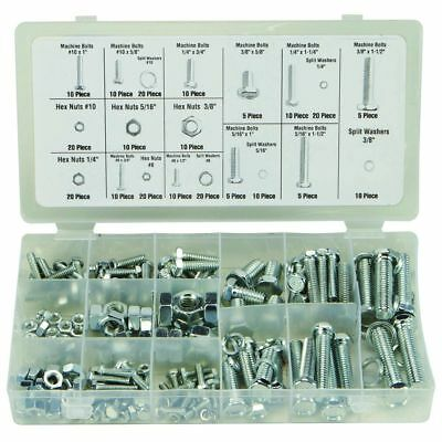Nut Bolt Assortment Machine Bolts Hex Nuts Split Washers Sae Zinc Plated