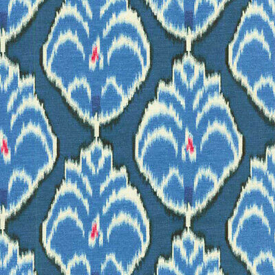 HGTV Gathering Place Gemstone 100% cotton fabric blue Ikat medallion  Blue Fabric Seat