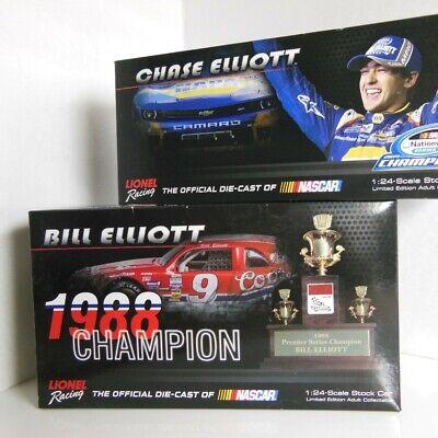 AUTOGRAPHED CHASE & BILL ELLIOTT NASCAR CHAMPIONS 2-CAR SET 1/24 / NIB