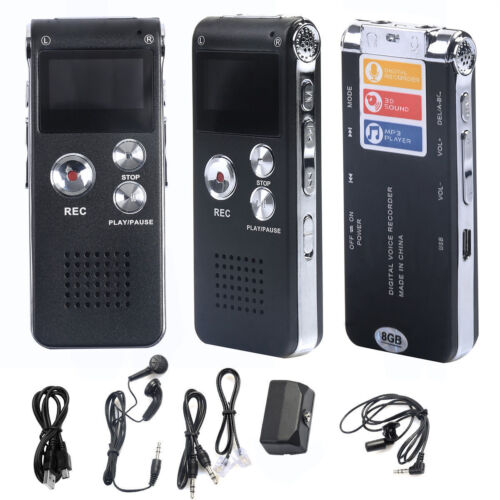 Black SK012 Rechargeable 8GB Digital Audio Dictaphone MP3 Player Voice Recorder