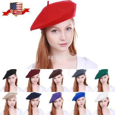 Tam Hat (New Women's Warm 100% Wool Fashion French Berets Tam Beanie Slouch Hat)