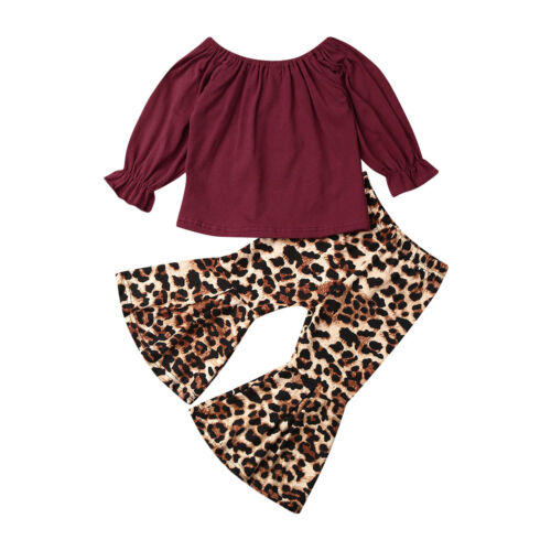 US Toddler Baby Girl Cotton Tops T-shirt Flared Pants Bell B