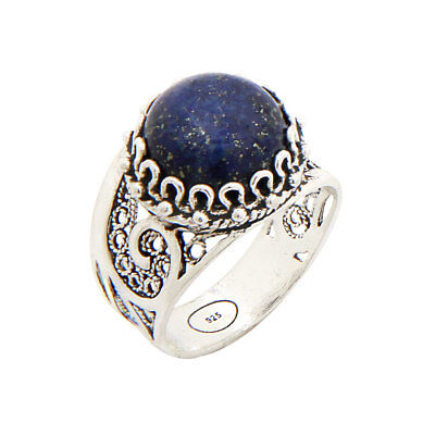 925 STERLING SILVER & BLUE LAPIS LAZULI FILIGREE PAISLEY ROUND RING SIZE 6