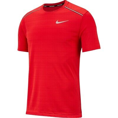 Men's New Nike Dri-Fit Miler T-Shirt Top - Fitness Gym Training Running - Red