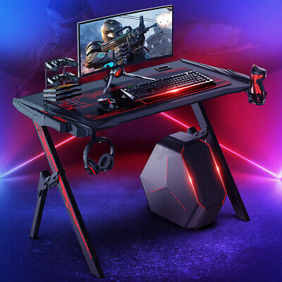 47.2 Carbon Fiber Surface Gaming Desk W Audio Sensor Rgb Light Cup Holder