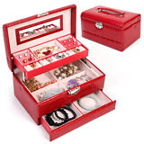 Jewelry Box Storage Organizer Case Ring Earring Necklace Mirror Christmas Gift