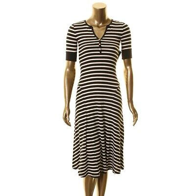 LAUREN RALPH LAUREN Women's Striped Split Neck Waffle-Knit Midi Dress XXS TEDO