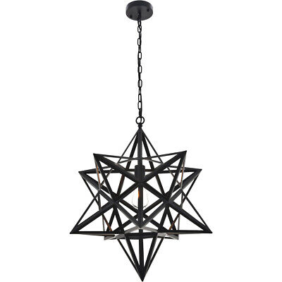 CHANDELIER OPEN BLACK STAR WROUGHT IRON DINING ROOM BEDROOM FIXTURE 1 LIGHT 25""