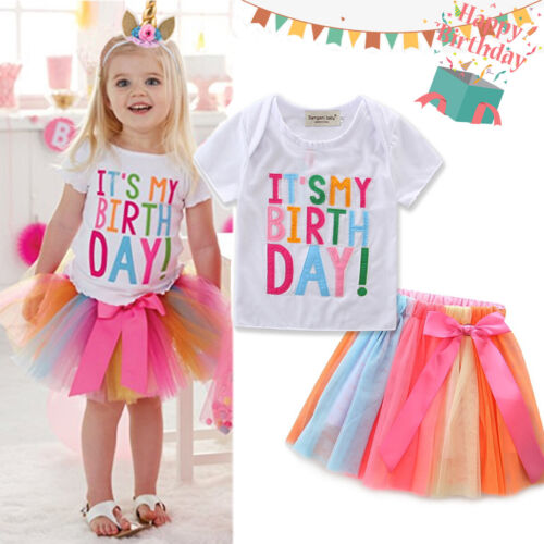 US Kid Girl Bowknot Ruffle Tops Animal Print Tutu Skirt Birthday Pageant Clothes