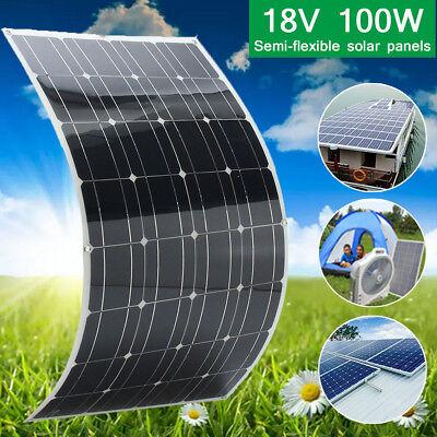Mono 100w 18v Solar Panel Flexible Battery Charger For 12v Motorhome Boats Roof