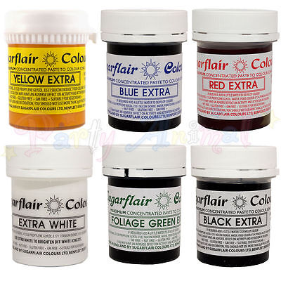 Sugarflair - Extra Concentrated Food Colour Pastes - Set of 6 - cake decoration