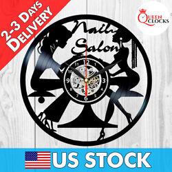 Nail Salon Clock Vinyl Record Beauty Studio Wall Art Spa Decor Manicurist Gifts
